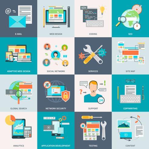 Icone di concetto di sviluppo del sito Web vettore