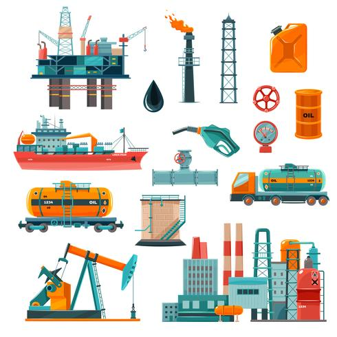 Icone del fumetto di industria petrolifera messe vettore