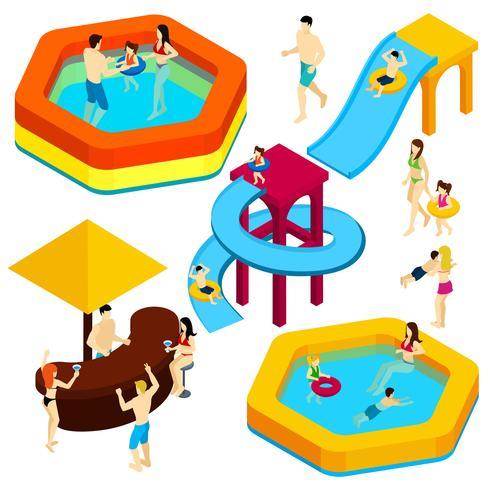 Insegna isometrica degli ospiti del parco di divertimenti dell'acqua vettore