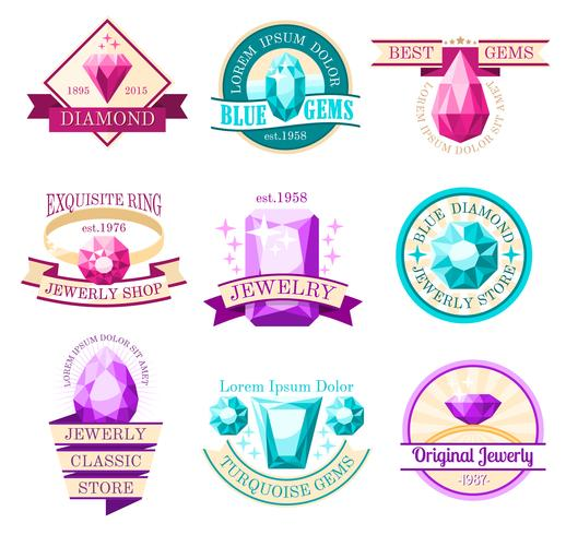 Set di emblemi del gioiello vettore