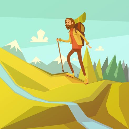 Illustrazione di escursionismo e alpinismo vettore
