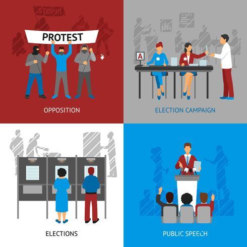 Set di icone di concetto di politica vettore