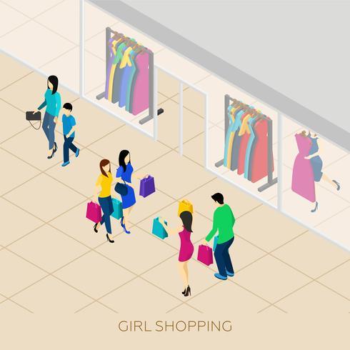 Shopping isometrico illustrazione vettore