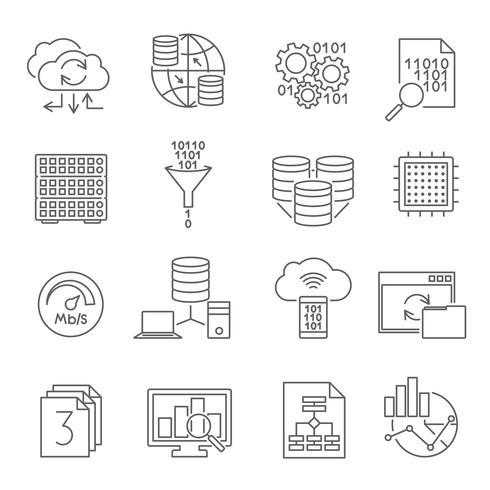 Set di icone di linea di analisi dei dati del database vettore
