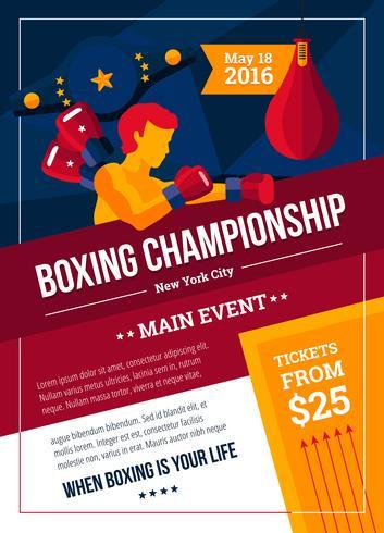 Poster del campionato di pugilato vettore