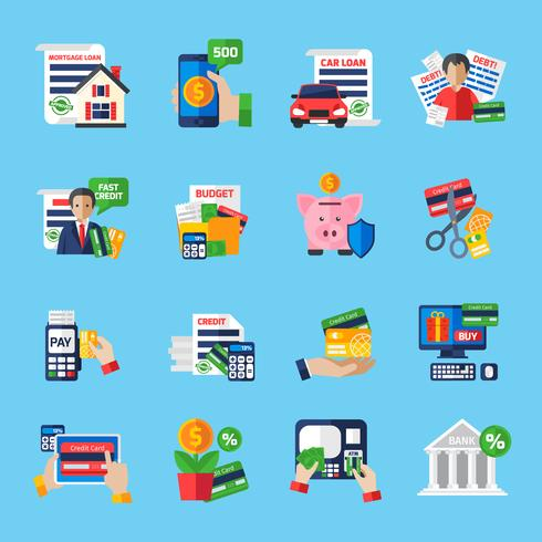 Set di icone di colore piatto debito debito vettore
