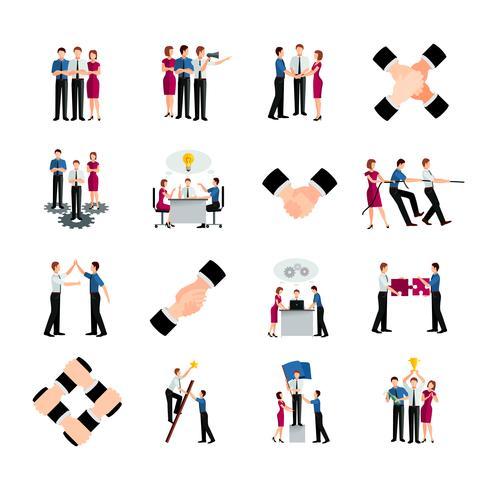 Set di icone di lavoro di squadra di colore piatto vettore