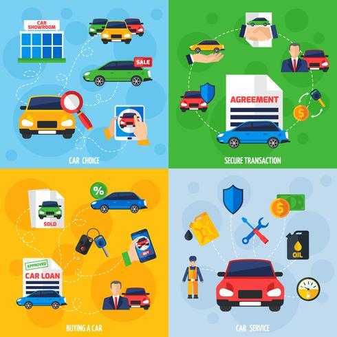 Quadrato piano delle icone del concessionario auto 4 vettore