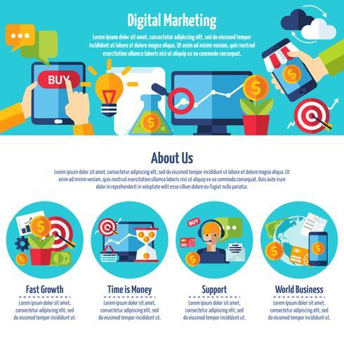 Sito Web di marketing digitale vettore