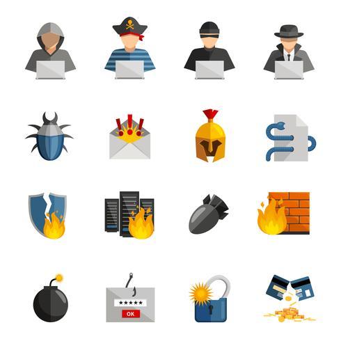 Set di icone di colore piatto hacker vettore