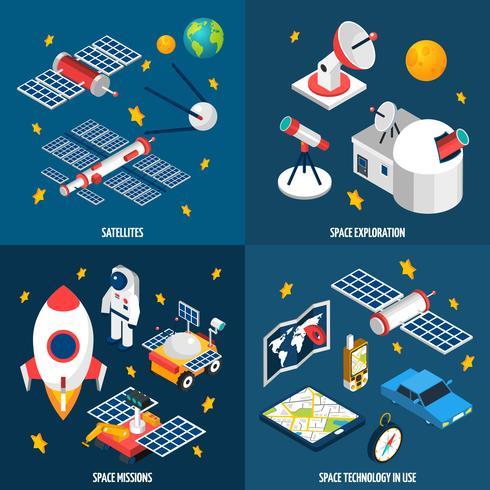 Esplorazione spaziale isometrica vettore