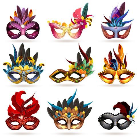 Set di icone di maschera vettore