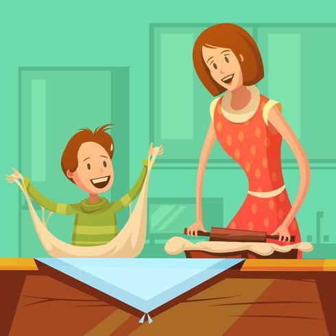 Illustrazione di cucina di famiglia vettore