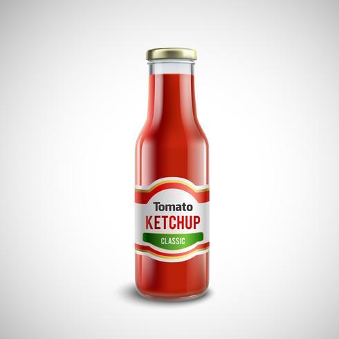 Bottiglia di vetro di ketchup in stile realistico vettore