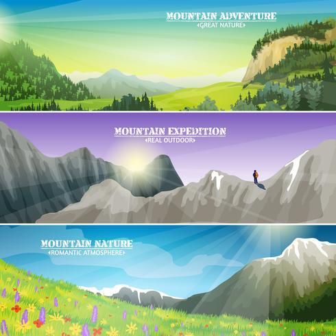 Set di banner orizzontale piana di paesaggio di montagne vettore