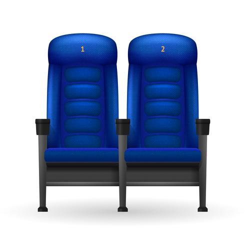 Illustrazione di posti di cinema blu vettore