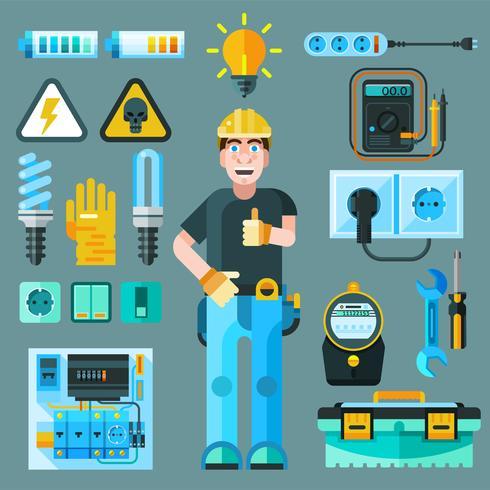 Set di icone di elettricista vettore