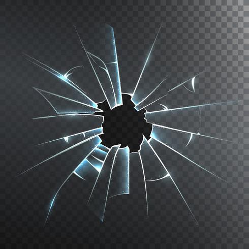 Icona realistica di vetro smerigliato rotto vettore