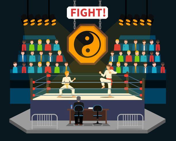 Illustrazione di combattimento di arti marziali vettore