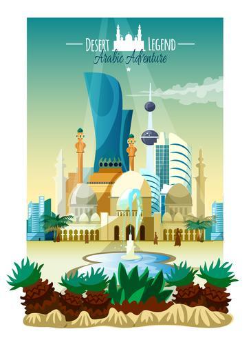 Poster di paesaggio città araba vettore