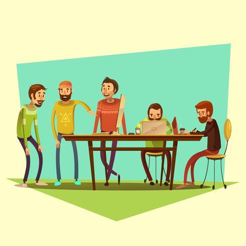 Illustrazione di coworking e persone vettore