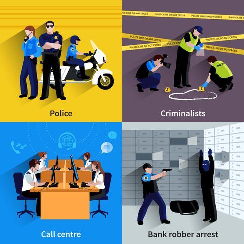 Concetto del quadrato della gente del poliziotto vettore