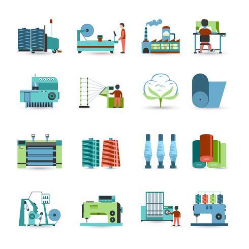 Set di icone piane del mulino tessile vettore