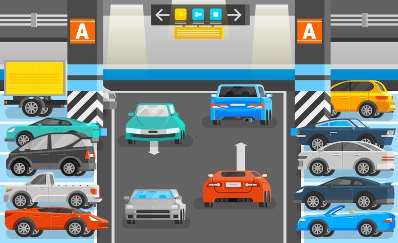 Illustrazione di parcheggio sotterraneo vettore