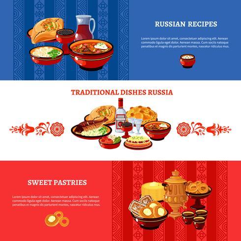 Set di bandiere di colori bandiera della cucina russa vettore