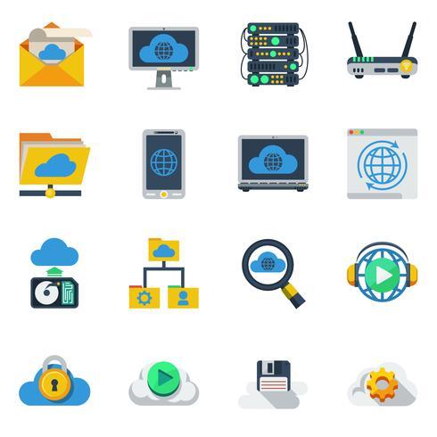 Icone di colore piatto di servizio cloud vettore