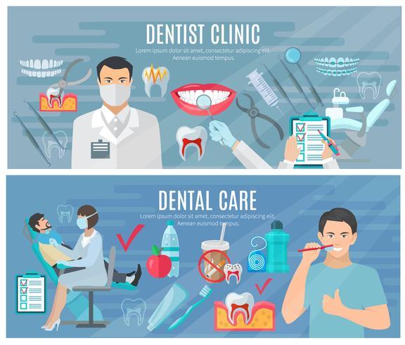 Set di banner dentista vettore