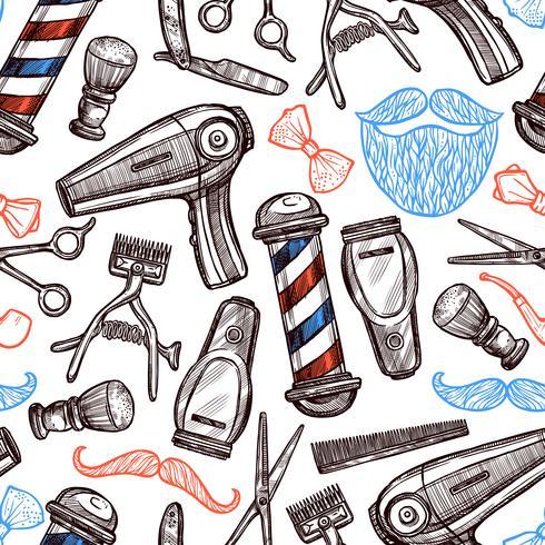 Attributi del negozio di barbiere Doodle Seamless Pattern vettore