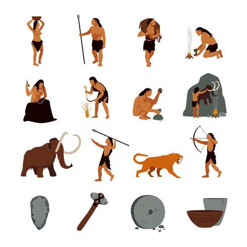 Icone cavernicolo preistorico dell'età della pietra vettore