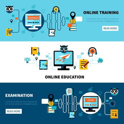 Collezione di banner piatto di formazione online vettore