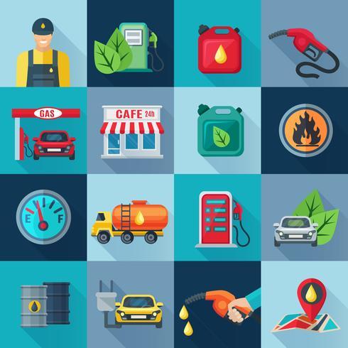 Set di icone quadrate benzinaio vettore