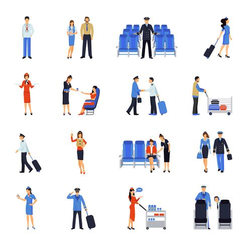 Set di icone piane di pilota e hostess vettore