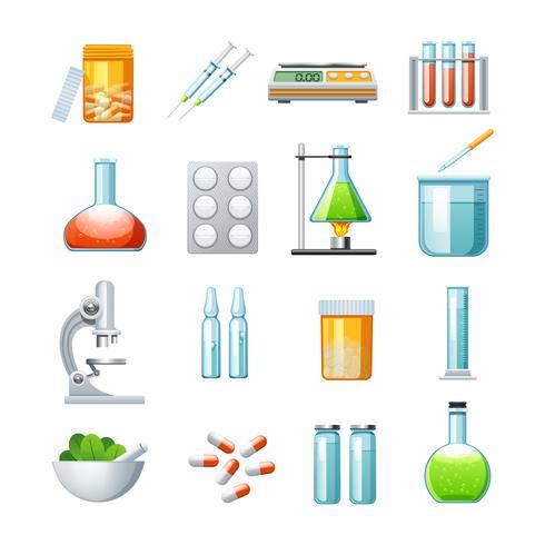 Collezione di icone piane di farmacologia vettore