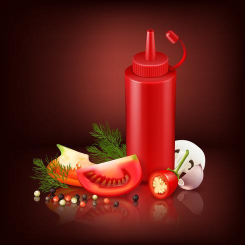 Sfondo realistico con bottiglia di plastica rossa e verdure vettore