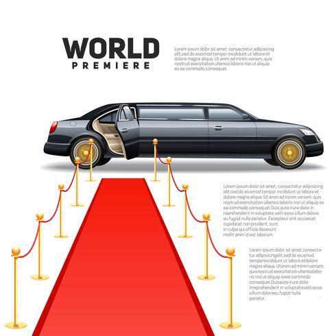 immagine colorata limousine tappeto rosso vettore