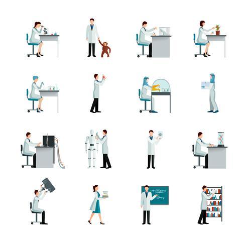 Set di icone decorative di scienziato vettore