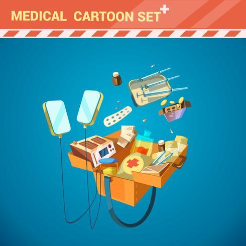 Insieme del fumetto dell'attrezzatura dell'ospedale vettore