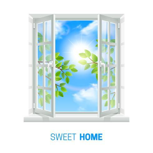 Icona realistica di Sunny Day della finestra aperta vettore