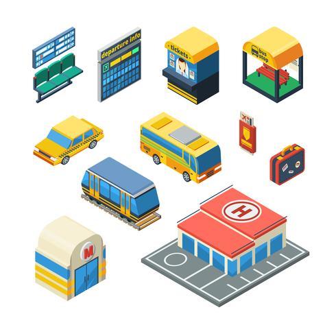 Icone isometriche del trasporto passeggeri vettore
