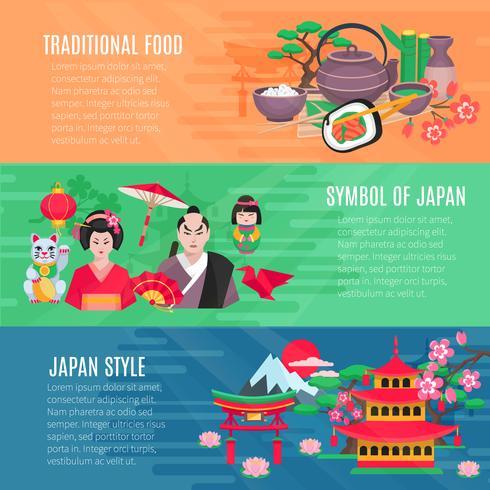 Set di bandiere orizzontali stile di vita giapponese vettore