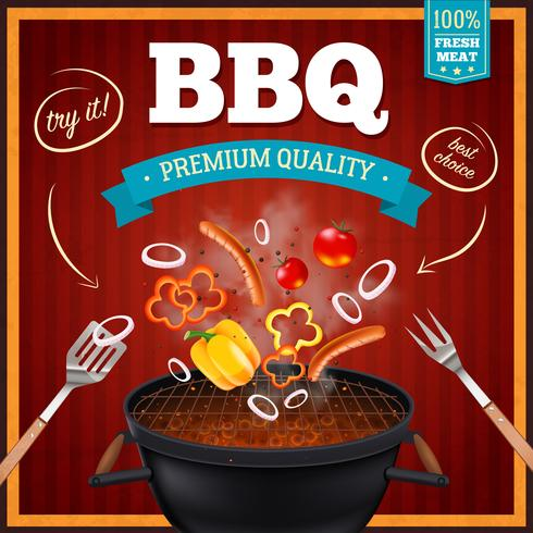 Poster realistico di barbecue vettore