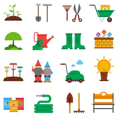 Set di icone di giardinaggio vettore