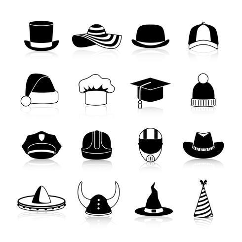 Cappelli e berretti icone nere vettore