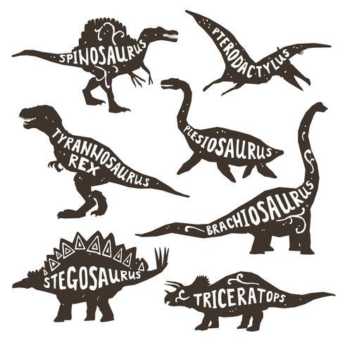 Dinosauri Silhouettes Con Lettering vettore