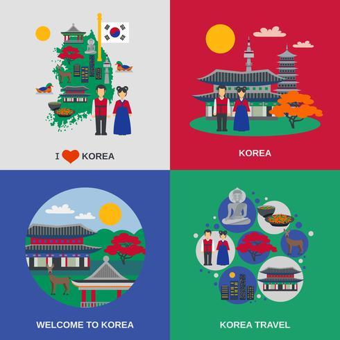 Cultura coreana piatto 4 icone quadrate vettore
