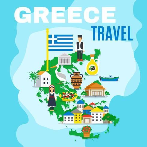 Mappa Grecia Poster vettore